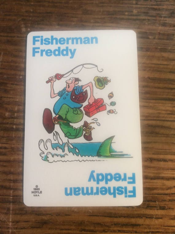 Old Maid card replacement from 1985 Hoyle deck, Fisherman Freddy, replacement Old Maid cards, complete your Old Maid deck, Nothings New Here