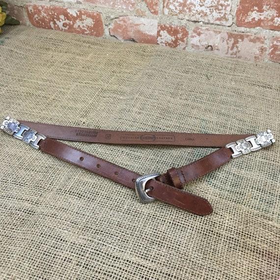 Vintage leather Medium Fossil belt, Fossil belt with conchos, vintage brown leather belt, leather and silver tone belt, Fossil BT223022202