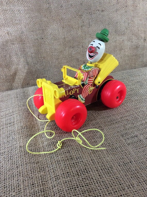 Vintage Fisher Price Jalopy, Fisher Price original toy, Fisher Price pull toy, 1960's Fisher Price made in the USA toys, colorful toy decor