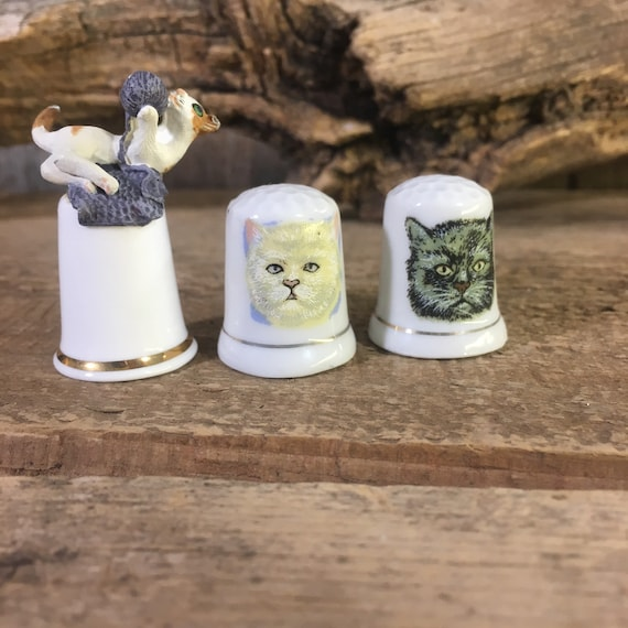 Vintage set of three miniature cat thimbles, thimble collectors, cat collectors,Sterling Classic made in England cat thimble, cat lover gift