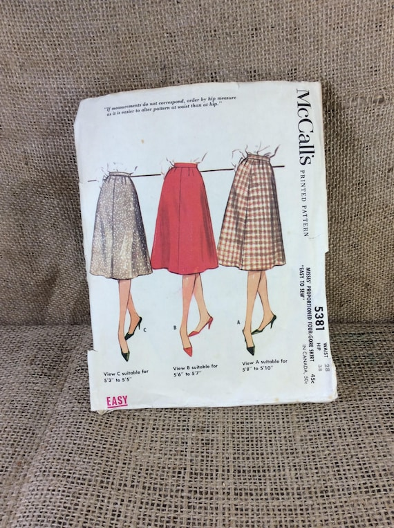 Vintage McCalls skirt pattern, McCalls pattern 5381, 2.00 US standard shipping, 1960's skirt pattern, sewing patterns from the 60's