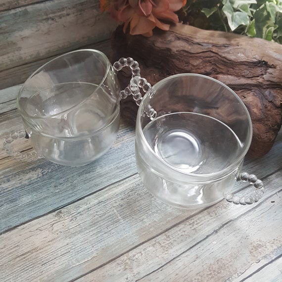 Set of four Imperial Candlewick glass coffee cups, beaded glass handled coffee cups, set of glass coffee cups, Imperial Candlewick cups