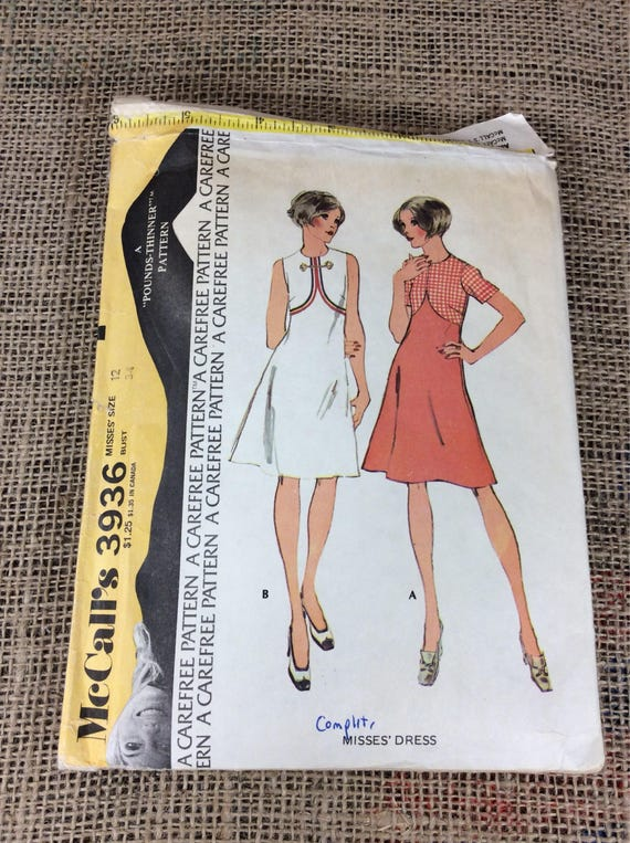 Vintage McCalls pattern, pattern 3936, McCalls 3936, high waisted vintage dress pattern, 1970's sewing pattern, 2.00 US shipping