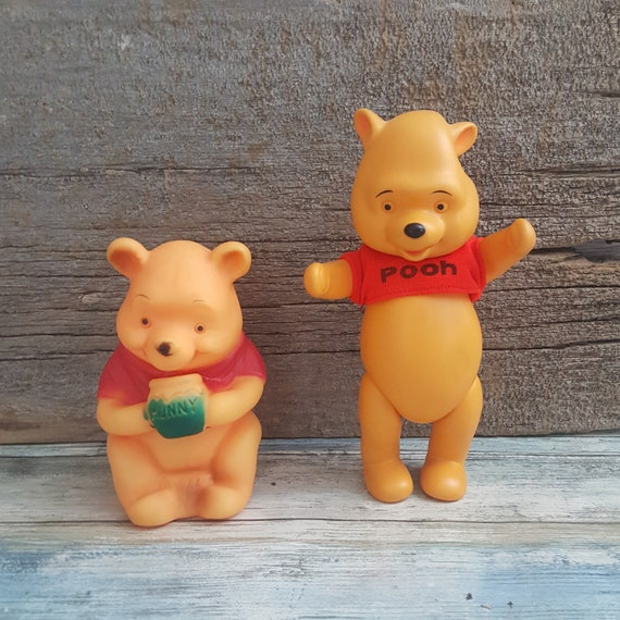Pair of vintage Winnie the Pooh squeaky toys, Walt Disney Winnie the Pooh toy, Sears and Roebuck Winnie the Pooh toy, Pooh Bear toys