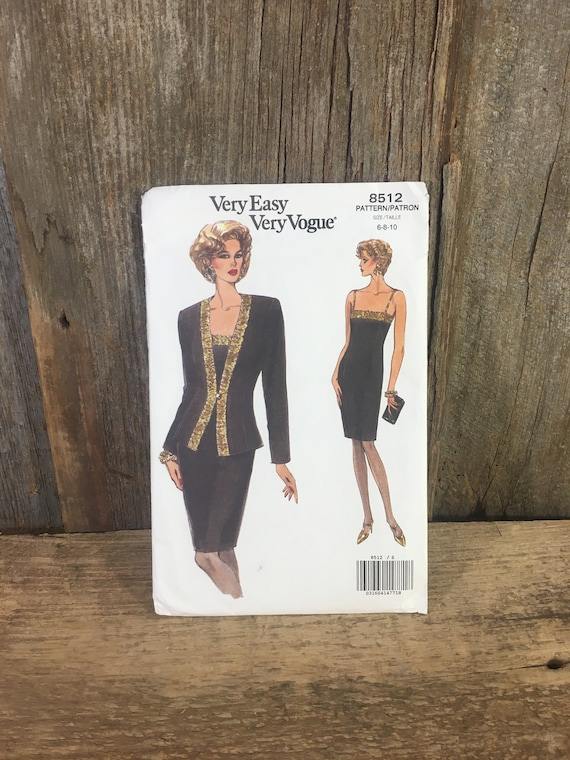 Very Easy Very Vogue pattern 8512, Butterick 8512, uncut sewing pattern, eveing dress and jacket sewing pattern 1992 uncut sewing pattern
