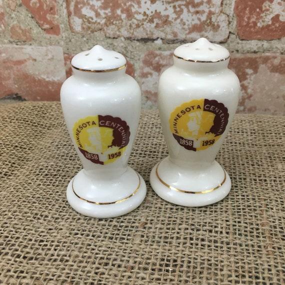 Vintage Minnesota Centennial salt and pepper shakers, mid century salt and pepper shakers, Minnesota collectibles, State of Minnesota