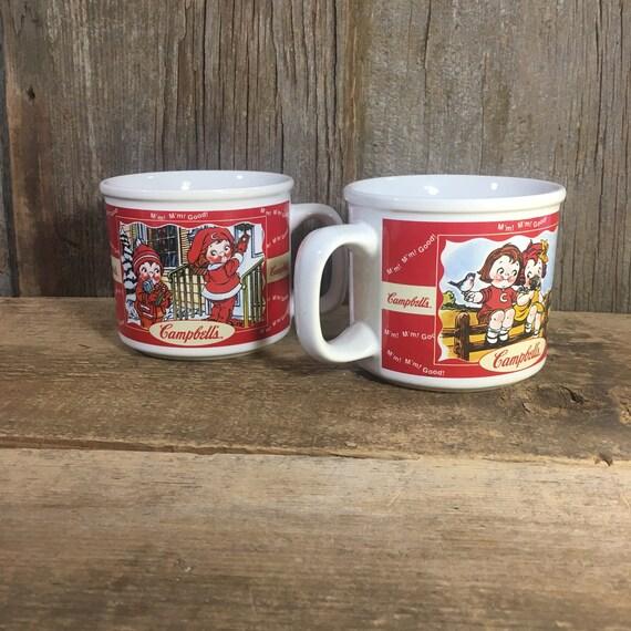 Vintage pair of Campbell's soup bowls four seasons campbells soup mugs, vintage from 1998 Campbells collectibles, vintage kitchen