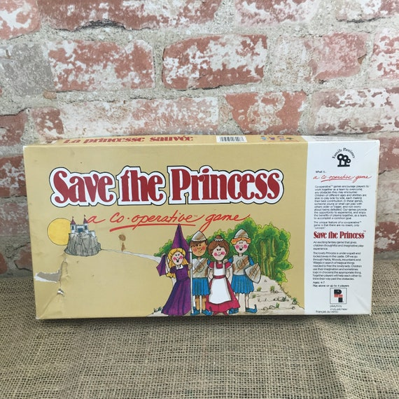 Vintage 1987 Save The Princess Game a co-operative game, fun family game no winners or losers, young children's board game, Jim Deacove game