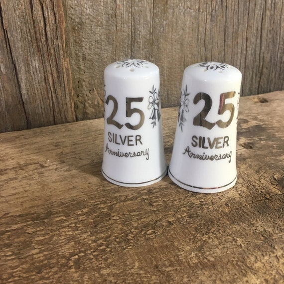 Vintage Norcrest fine china from Japan, Silver 25th Anniversary salt and pepper shakers, Anniversary gift, vintage gift, couples gift