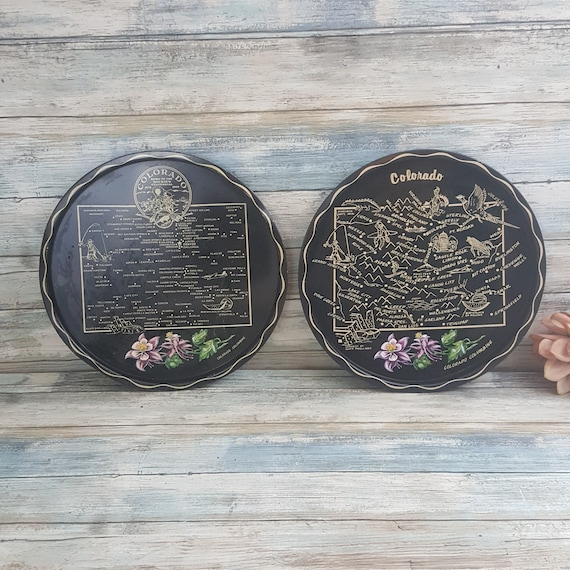 Pair of Vintage State of Colorado serving trays,vintage serving trays,Columbine flower decor,Colorado memorabilia,tray collector, state tray