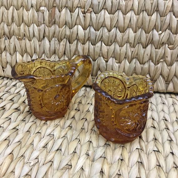 Vintage Amber moon and stars toothpick holder and creamer, small vintage amber toothpick holder and creamer, vintage amber glass