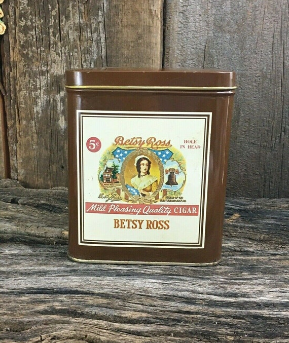 Betsy ross vintage tin collectable-hole in head betsy ross cigar hinged tin-rare, tin collectors, Betsy Ross tin, cigar tin