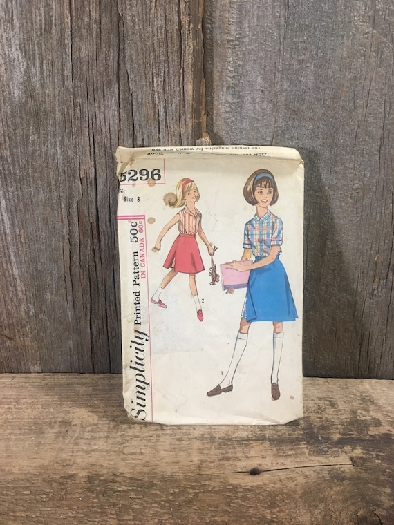 Simplicity 5296 from 1963, vintage UNCUT Simplicity pattern girls skirted shorts and blouse with that 60's look, little girls sewing pattern