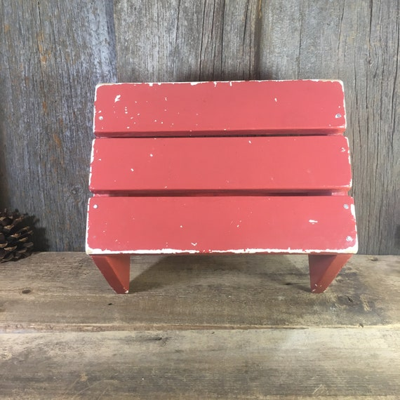 Vintage shabby chic wooden stool, rusty red colored childrens stool, wash your hands stool, shabby chic childrens decor, vintage step stool