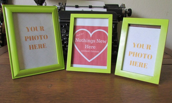 Picture frames, recycled picture frames, key lime colored frames ...