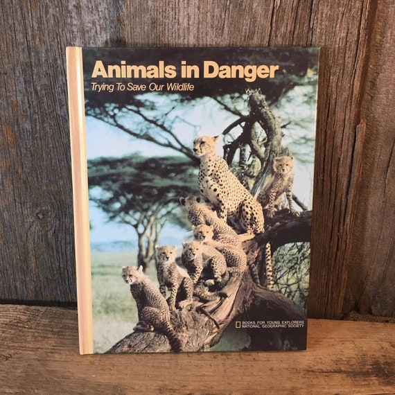 Animals in Danger Trying to save our wildlife, vintage National Geographic book, Books for young Explorers National Geographic Society