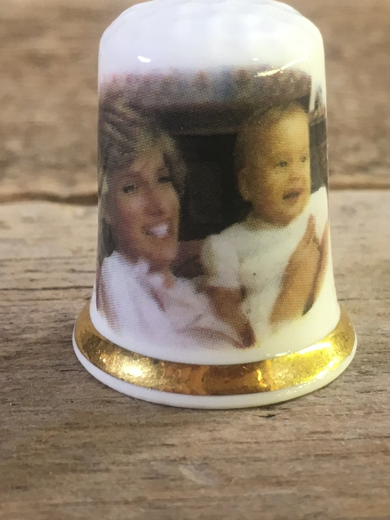 Vintage Princess Diana and Prince Harry commemorative thimble, Prince William first Birthday thimble, Finsbury fine bone china thimble