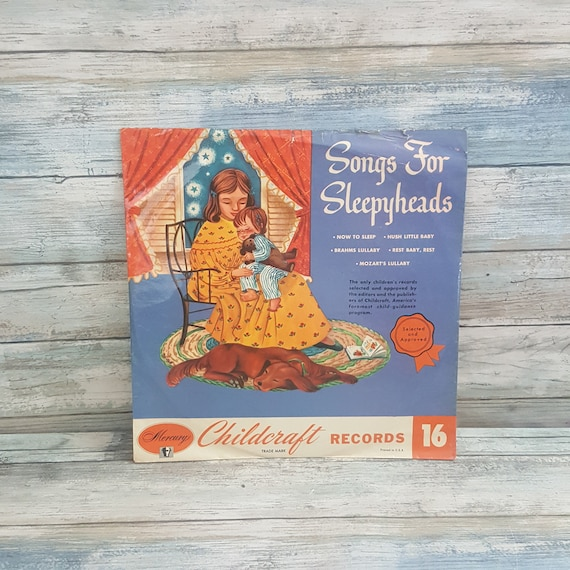 Songs for Sleepyheads album, Vintage mid century Childcraft record Album, hush little baby, Mozart's lullaby, Grahms Lullaby