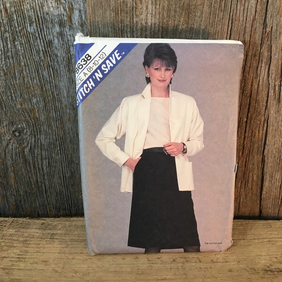 Uncut Easy Stitch N Save by McCall's 8638, McCall's 8638, Stitch n Save 8638,size 8-10 jacket & skirt sewing pattern,vintage McCalls pattern