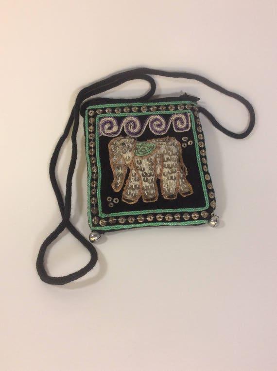 Sequined elephant coin purse, vintage handmade elephant designed pouch great boho accessory, 1960's sequined pouch with elephant embroidery