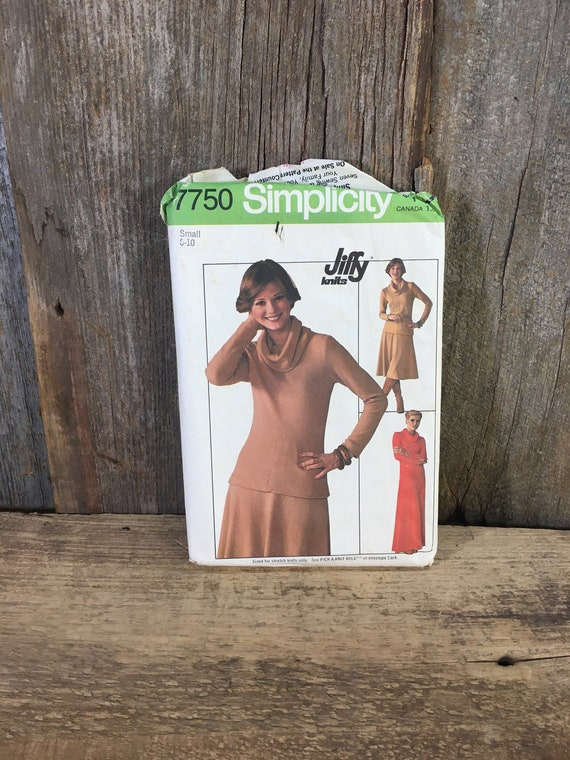 Vintage Simplicity pattern,Simplicity 7750,Simplicity Jiffy pattern,Simplicity pattern from 1976,pattern for pullover dress or top and skirt