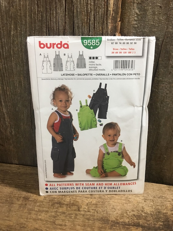 Uncut Burda sewing pattern, Burda 9585 pattern by Verlag Aenne Burda, uncut baby and toddler pattern, uncut overall baby pattern