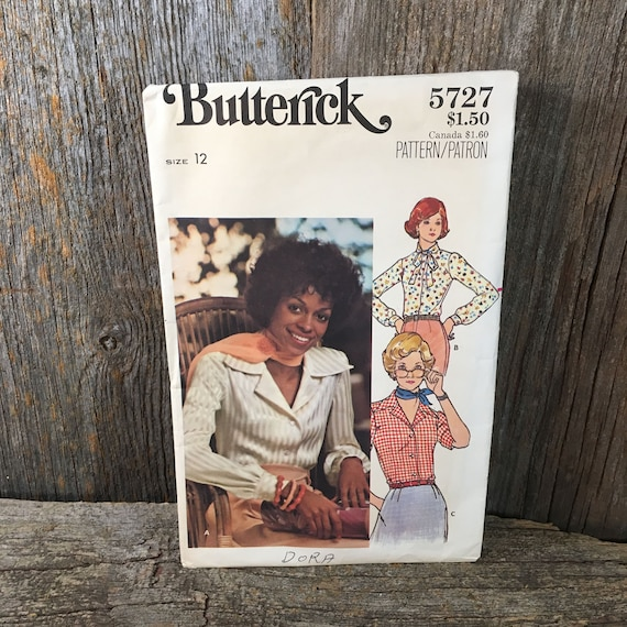 Vintage Butterick 5727 sewing pattern, misses shirt sewing pattern, semi fitted shirt pattern, size 12 sewing pattern, Butterick pattern