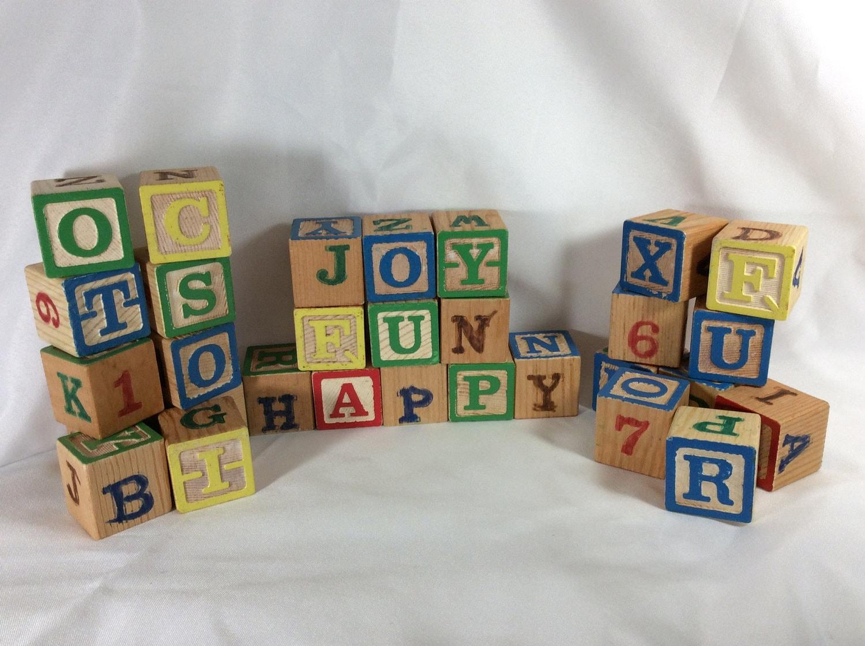 Vintage Playskool Wooden Blocks 1977 Playskool Letter Blocks