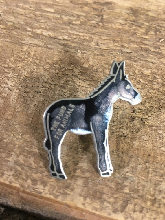 Vintage enamel Donkey pin, The Fund For Animals pendant, animal jewelry, donkey collectors, collectible donkey pin, The Fund For Animals pin