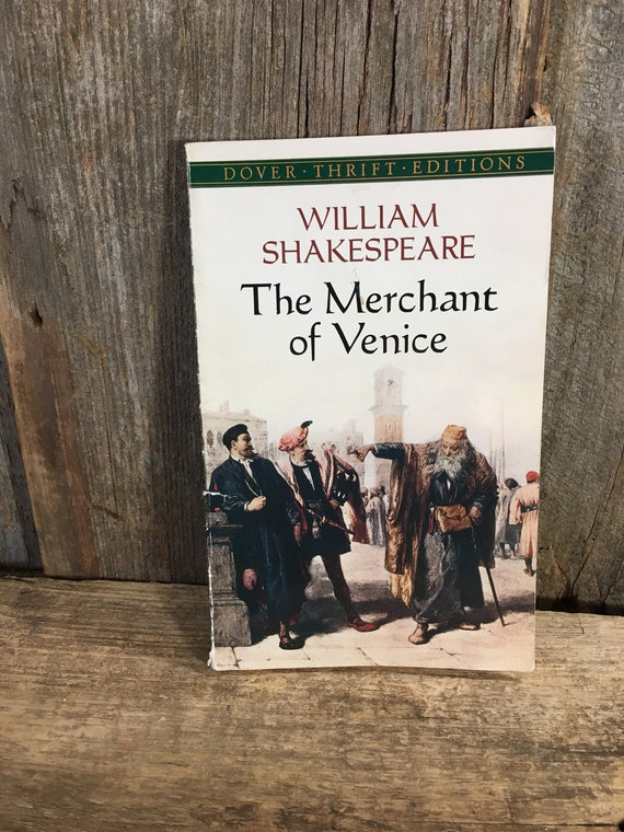 The Merchant of Venice by William Shakespeare, Dover Thrift editions, 1995 soft cover book, vintage reading, William Shakespeare library