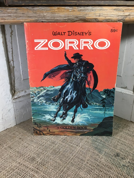 Zorro Golden Book 1958, Super collectible disney book, vintage children's book, Disney Publishing Golden Book, Large Golden Book, classic