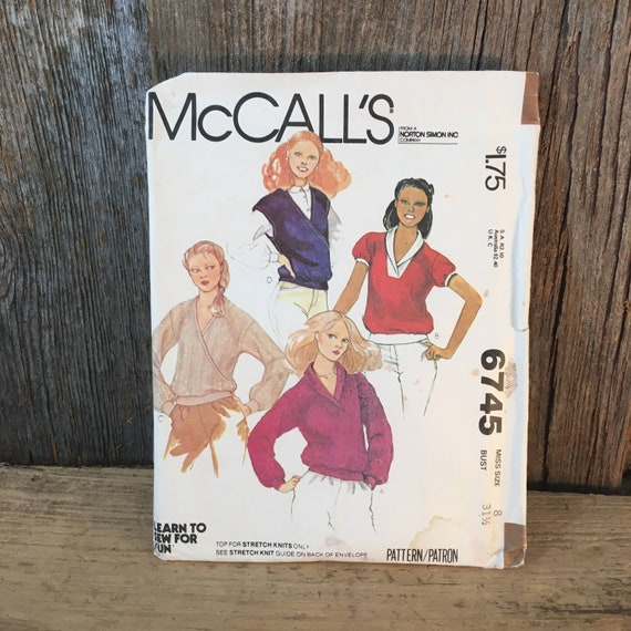 Vintage McCalls 6745 size 8, McCalls tops in different variations, 1970's shirt sewing pattern, pullover top gathered waistband pattern