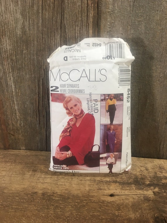 Vintage McCalls 8452, partially cu size 12-14 McCalls pattern for top, pullon pants and skirt, 1996 McCalls 2 hour separates pattern,