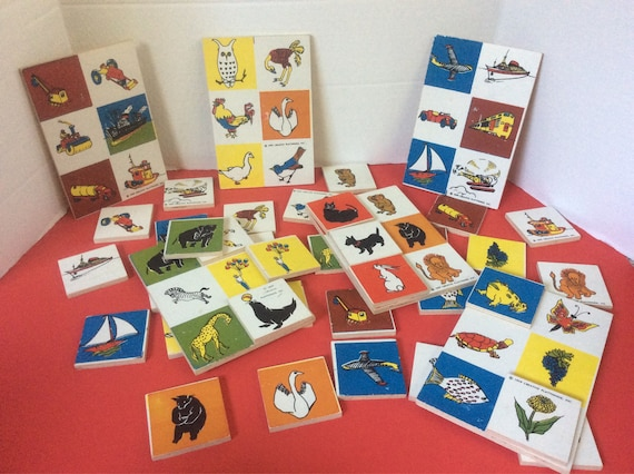 Vintage 1959 Creative Playthings, Wood Lotto. A matching game. Super learning game, great vintage toy and gift idea