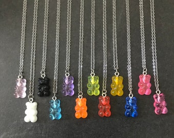 Colorful  Gold  Silver Zircon Candy Bear Earrings Necklace Set Silver Gummy Bear Necklace Jewelry Set Dainty Gold Plated Hoop Earrings