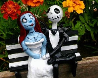 The Nightmare Before Christmas Cake Topper/Jack and Sally Cake Topper/Polymer Clay,Jack Skellington/TIm Burton
