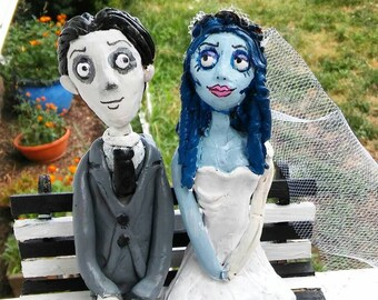 The Corpse Bride Cake Topper/Victor and Emily Cake Topper/Polymer Clay,/Tim Burton