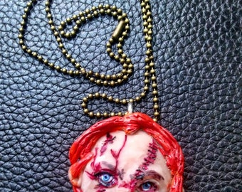 47fb0c573 Chucky necklace , child's play necklace handmade polymer clay cabochon