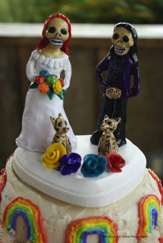 lesbian wedding cake topper items similar to day of the dead same wedding 5498