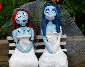 Lesbian wedding The Nightmare Before Christmas , Corpse Bride Cake Topper/Emily and Sally Cake Topper/Polymer Clay,/Tim Burton
