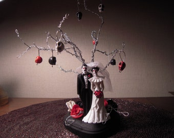 Tree of life wedding cake topper , day of,the dead Skeleton ETSY WEDDINGS FEATURED Item Twisted Wire Tree Alternative Wedding Halloween