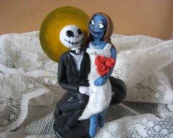 Nightmare Before Christmas Cake Topper/Jack and Sally Cake Topper/Jack Skellington/Zombie/Skeleton/TIm Burton