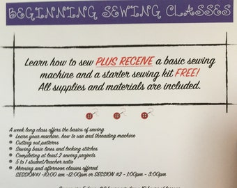LEARN TO SEW - Basic Lesson Camps - Summer 2018