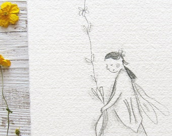 flower fairy art, fairie illustration, fairy nursery art, faery drawing, fae, original whimsical artwork