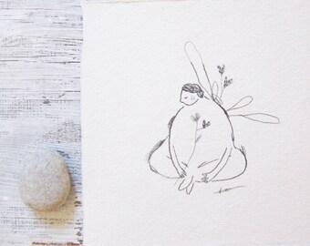 meditation drawing, spiritual art, pencil drawing meditation art, inner peace art, wings, mindfulness art healing art, ORIGINAL illustration