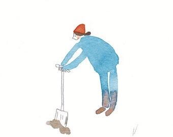 ORIGINAL illustration, funny art, cute illustration, custom portrait, worker, gardener, builder, digging, girl, woman, witty illustration
