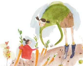 vegetable garden PRINT, mother and daughter garden illustration, whimsical childrens art print, family, carrot, kitchen wall art print