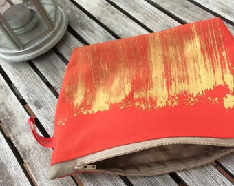 Red zipper pouch Big purse Make up bag