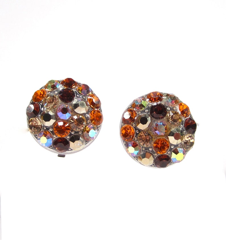 SoHo\u00ae brown clip on earrings rhinestone buttons brown mix crystals topaz machine cut crystals handmade in cologne germany