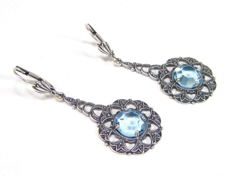 Fairytale earrings in Art Nouveau style earrings antique silver blue bohemia filigree handmade glass handmade in Cologne